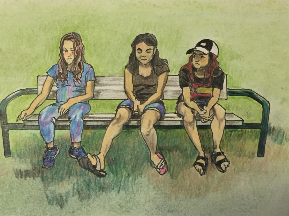"""Three Friends on a Bench"" original fine art by Garima Heath"
