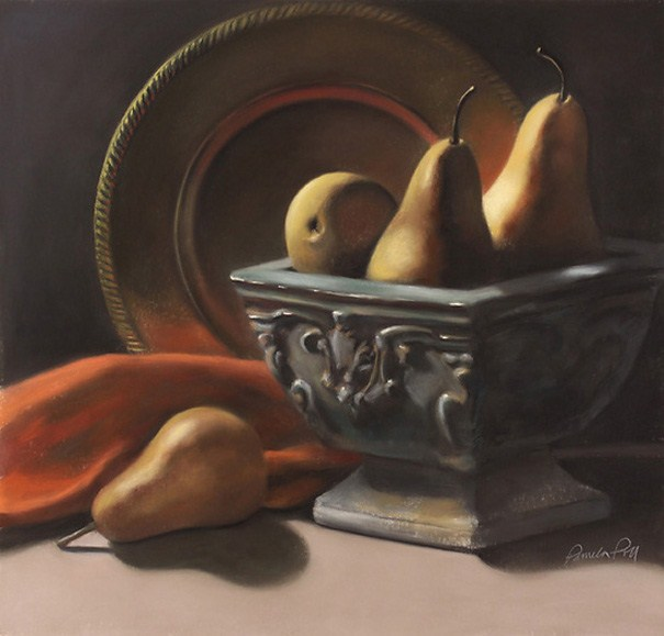 """Pears and Plate (framed)"" original fine art by Pamela Poll"