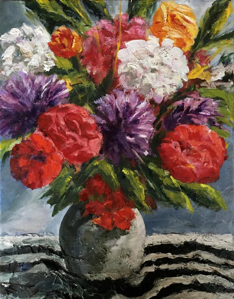 """Floral Drama"" original fine art by Renee Robison"