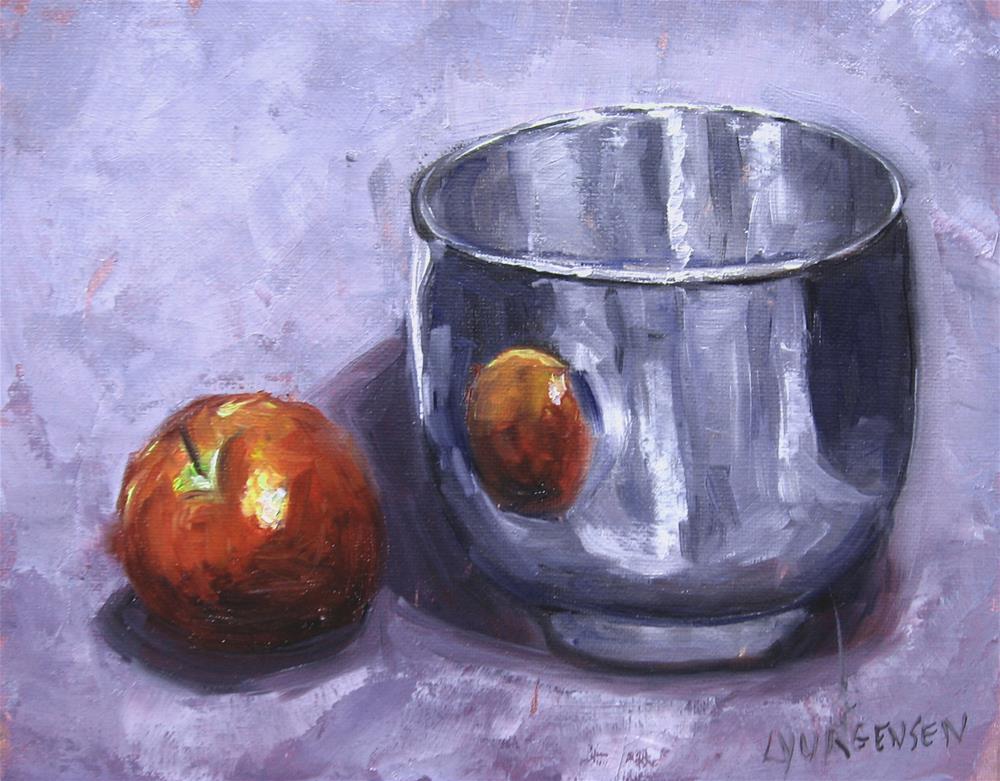 """8 x 10 inch oil red apple and silver bowl"" original fine art by Linda Yurgensen"