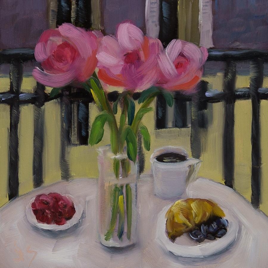 """""""Peonies in Paris"""" original fine art by Johnna Schelling"""