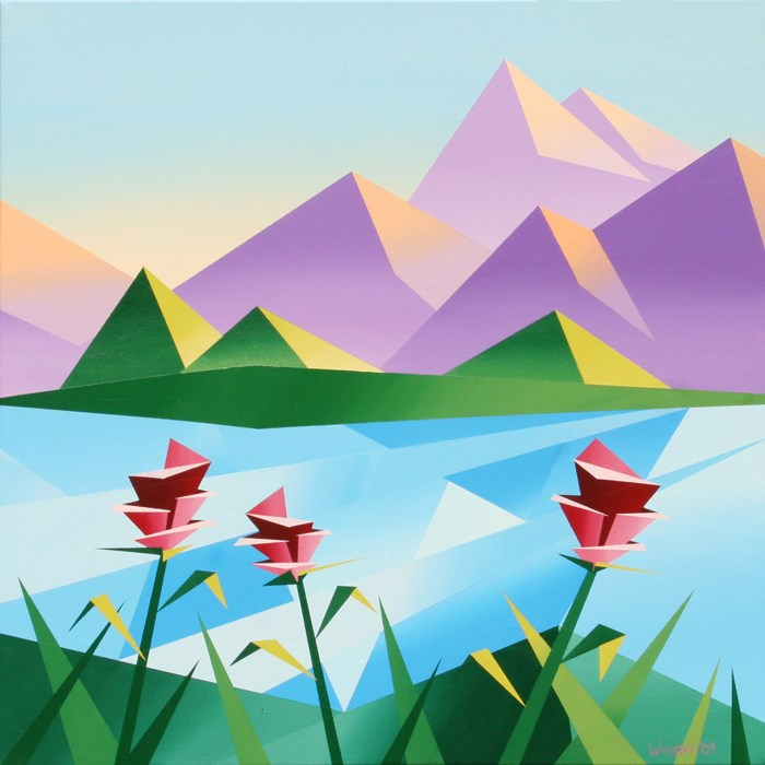 """Mark Webster - Abstract Sunrise at the Mountain Lake #2 - Abstract Acrylic Landscape Painting"" original fine art by Mark Webster"