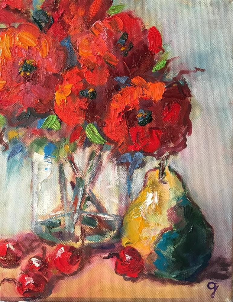 """""""Poppies and Pear"""" original fine art by Gayle Lambeth"""