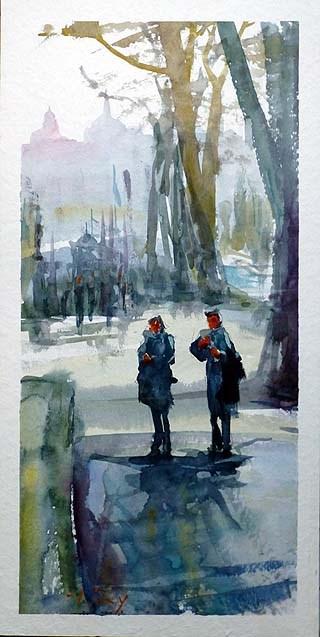"""""""Unterwegs in Karlsbad 4"""" original fine art by Jurij Frey"""