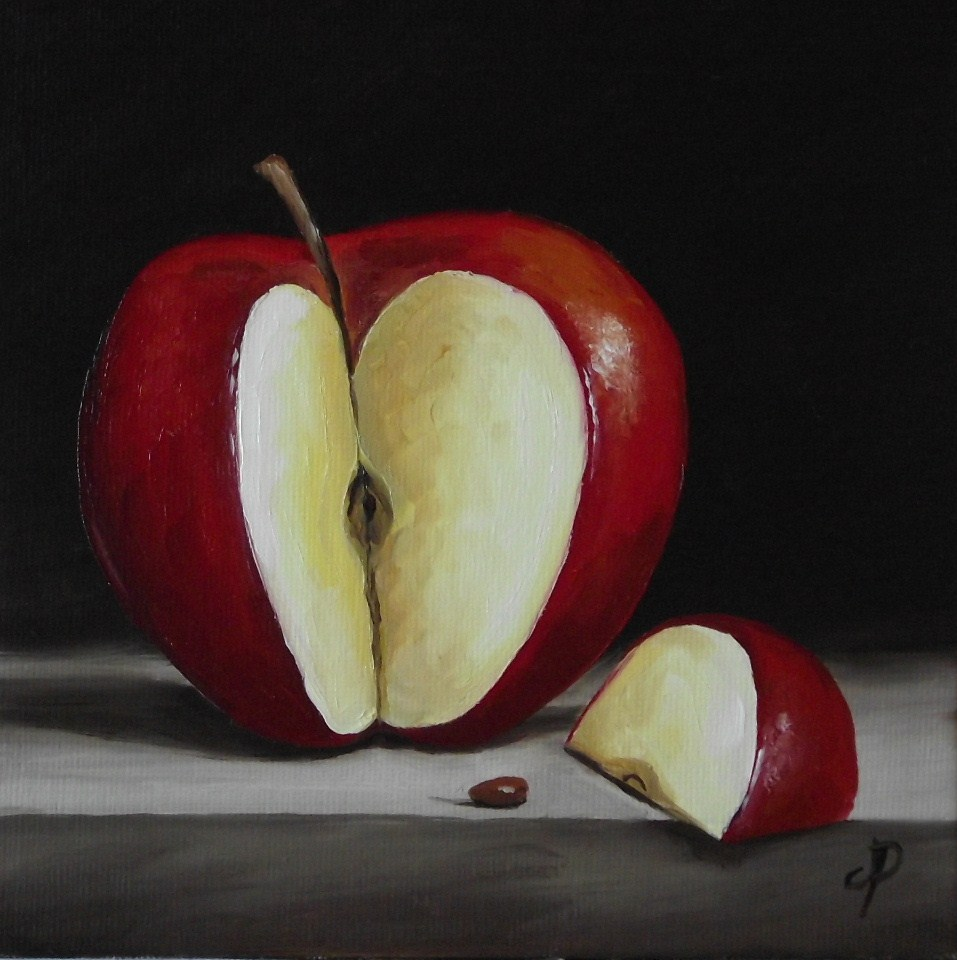 """Red Apple slice and little Green Apple"" original fine art by Jane Palmer"