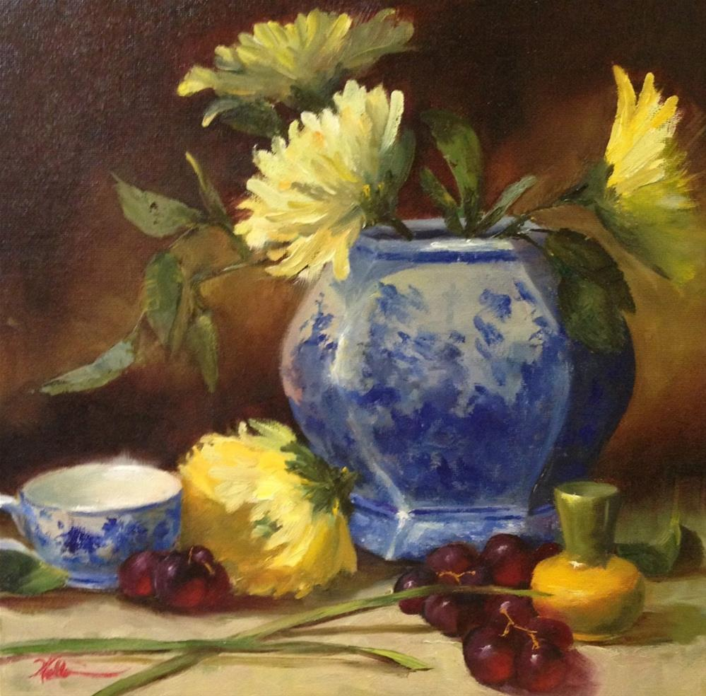 """""""Blue Vase with Yellow Chrysanthemums"""" original fine art by Dorothy Woolbright"""