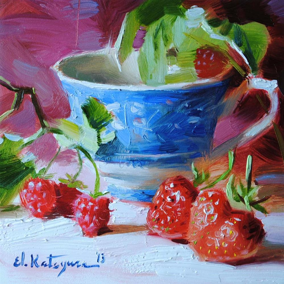 """Teacup and Berries"" original fine art by Elena Katsyura"