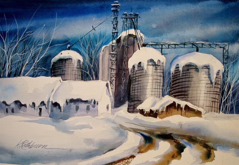 """INDUSTRY-Power....season's of farming-winter"" original fine art by Kathy Los-Rathburn"