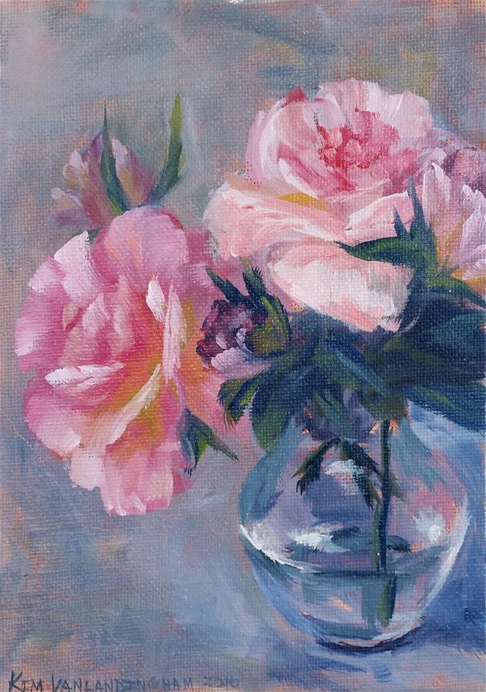 """Flowers in glass study"" original fine art by Kim Vanlandingham"