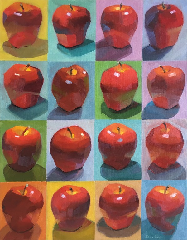 """Repeating Apples Giclee Print"" original fine art by Robin Rosenthal"