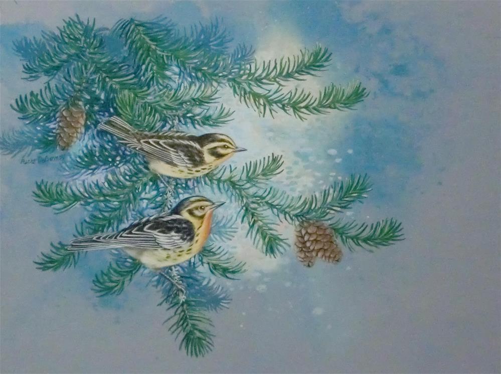 """""""Blackburnian Warblers"""" original fine art by Jean Pierre DeBernay"""