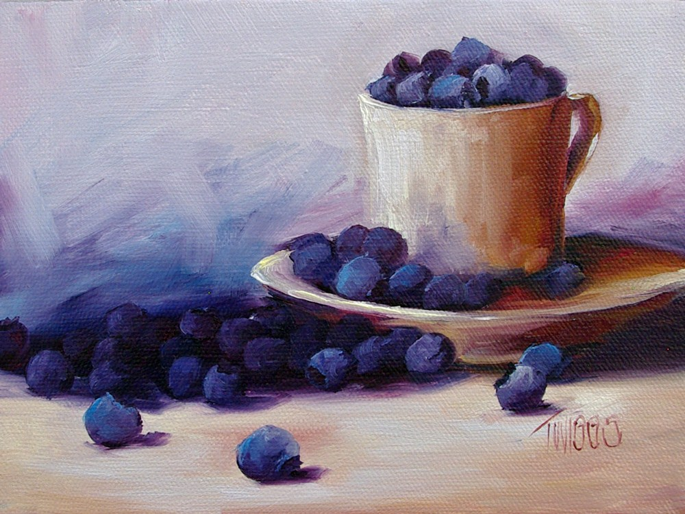 """Blueberry Spill"" original fine art by Lori Twiggs"
