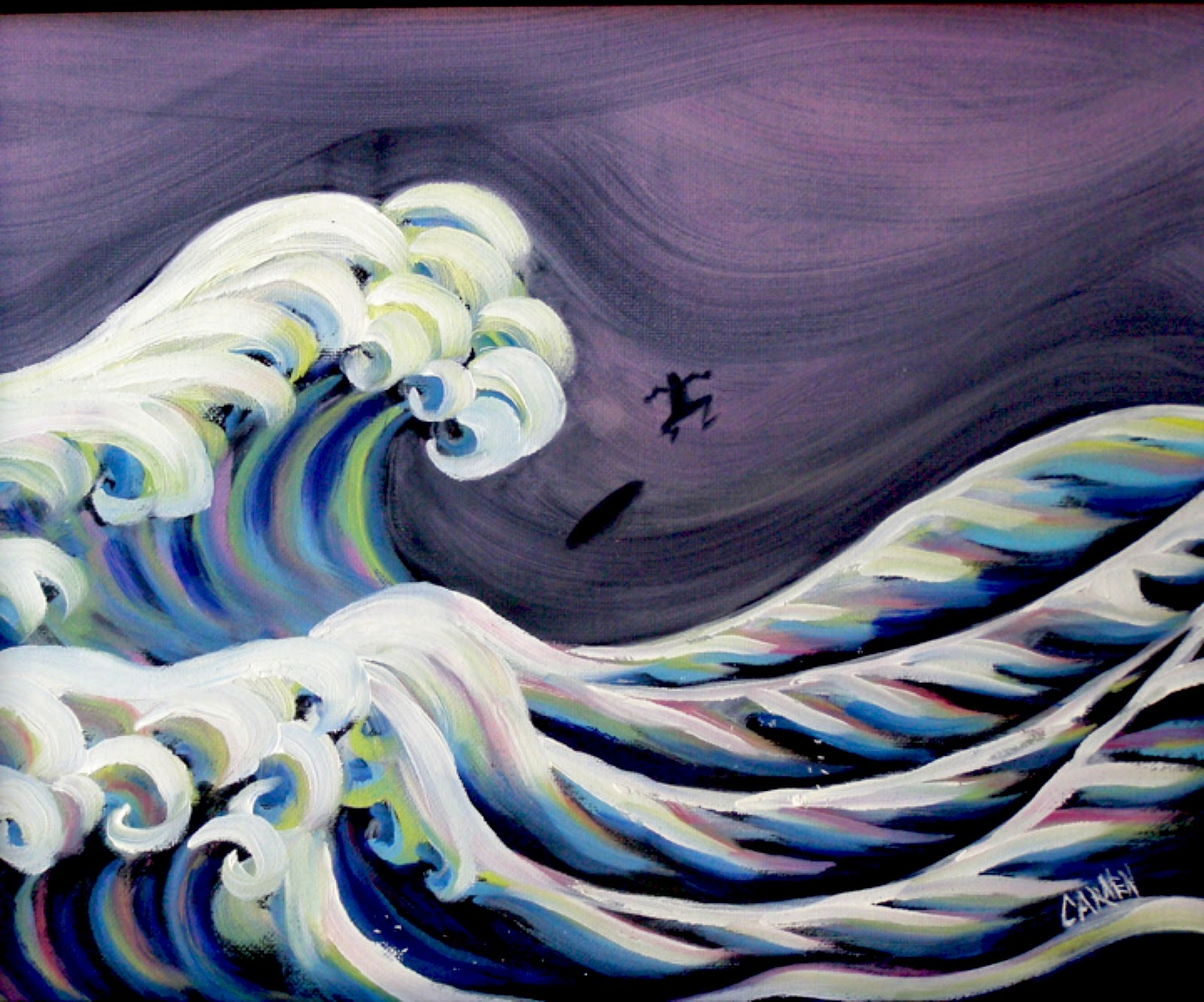 """Homage to Hokusai, 8x10 Oil on Canvas Board"" original fine art by Carmen Beecher"