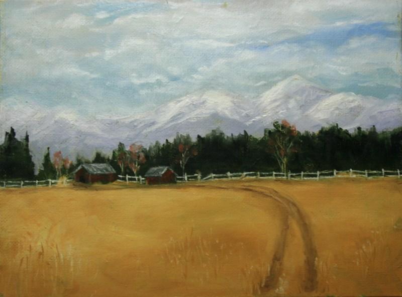"""""""Valley Farm"""" original fine art by Jean Nelson"""