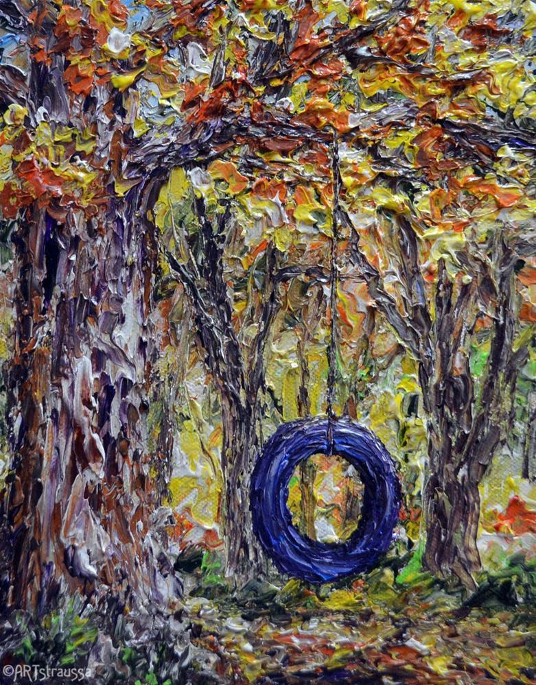 """""""Tire Swing Joys"""" original fine art by Gloria Ester"""