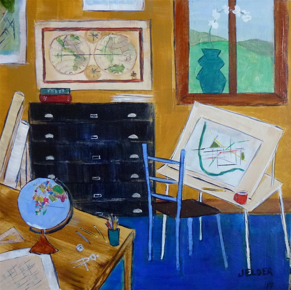 """The Cartographer's Work Space"" original fine art by Judith Elder"