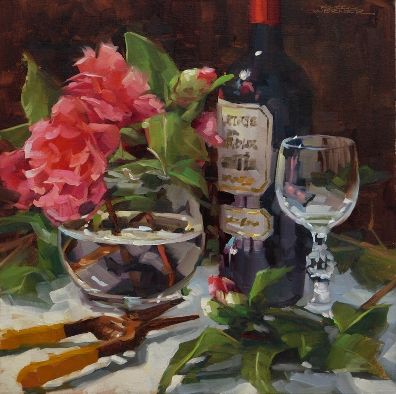"""Camellias & Bordeaux"" original fine art by Karen Werner"