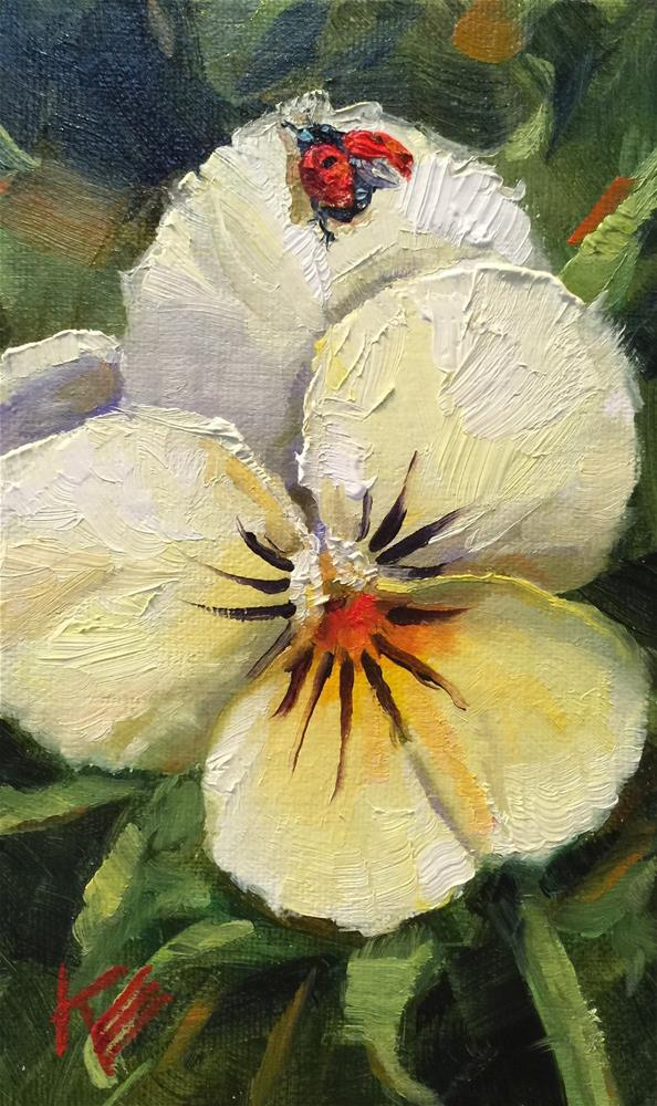 """Pansy & friend"" original fine art by Krista Eaton"