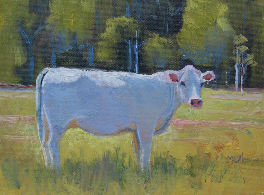 """White Cow"" original fine art by Susan McCullough"