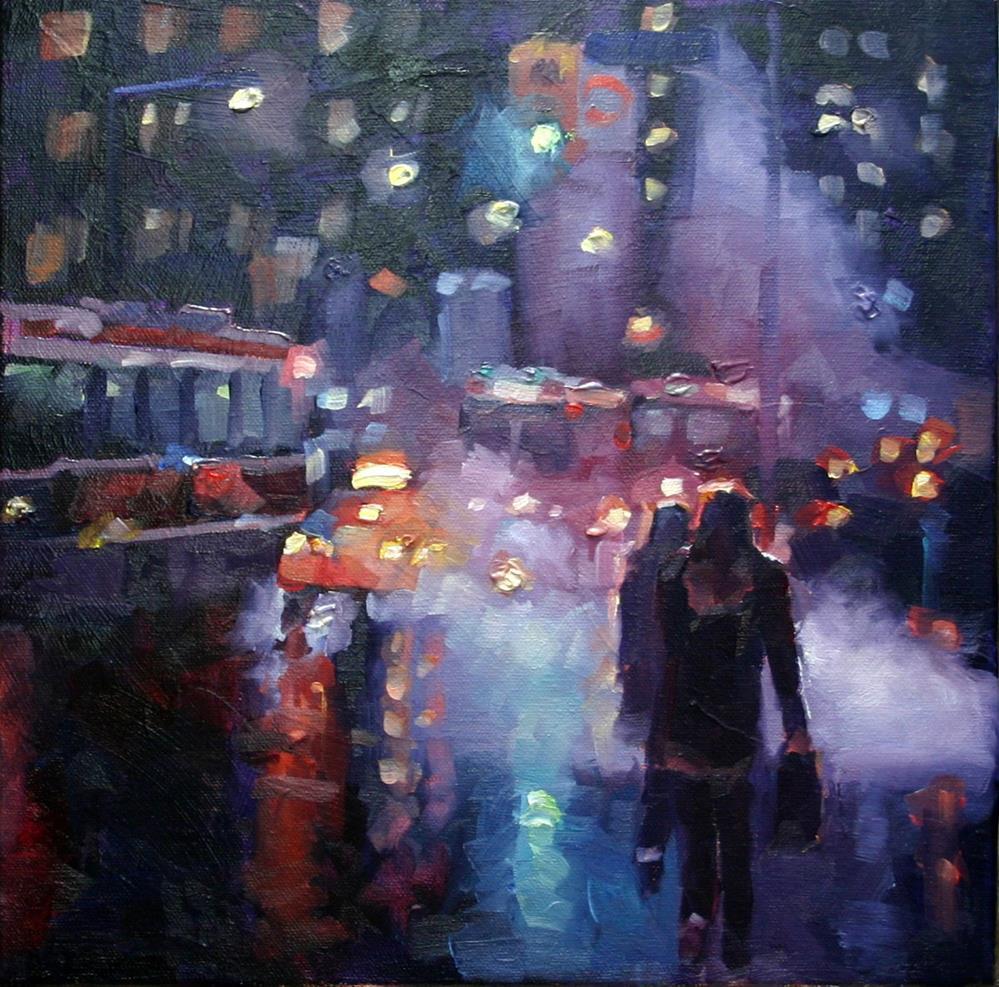 """City Lights and Steam, Toronto"" original fine art by Catherine Jeffrey"