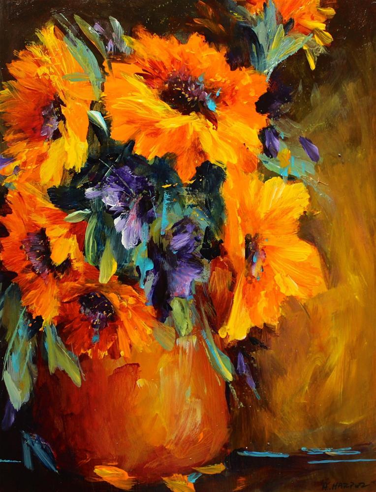 """Original sunflower yellow orange still life art painting"" original fine art by Alice Harpel"