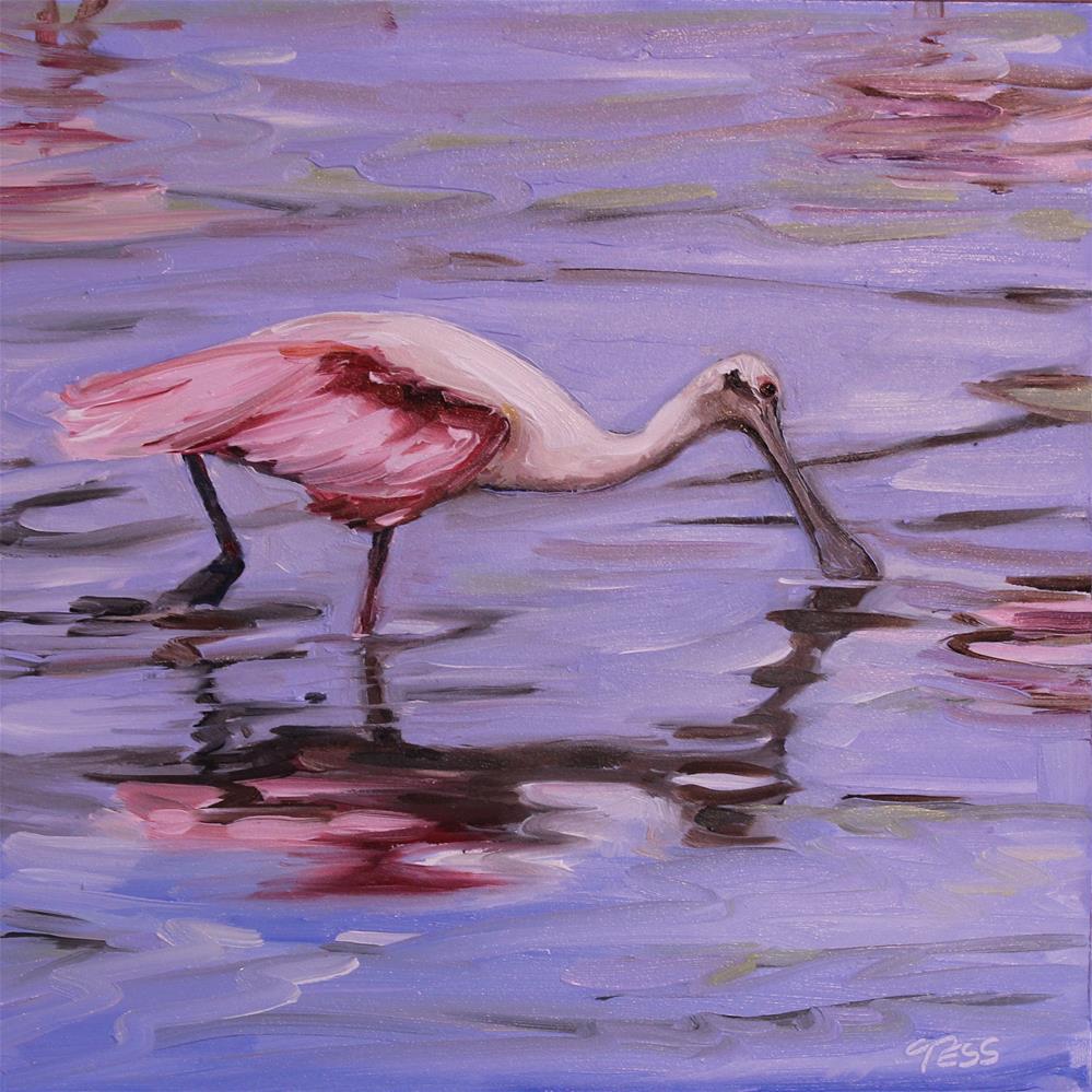 """""""Day 7- Roseate Spoonbill"""" original fine art by Tess Lehman"""