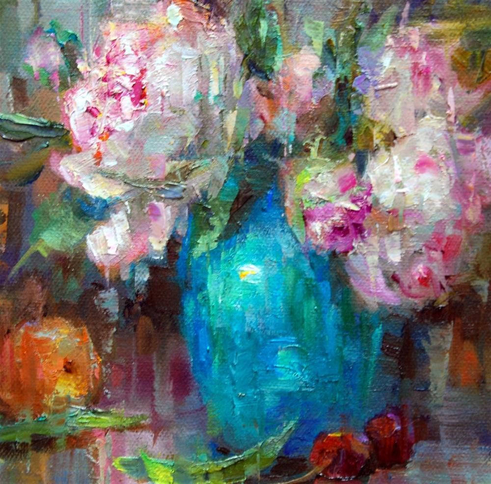 """Turquoise and Peonies Squared!"" original fine art by Julie Ford Oliver"