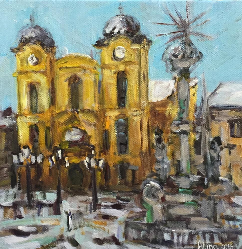 """""""European Town Square"""" original fine art by Alina Vidulescu"""