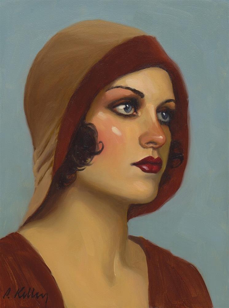 """""""Flapper in a Cloche Hat"""" original fine art by Pat Kelley"""