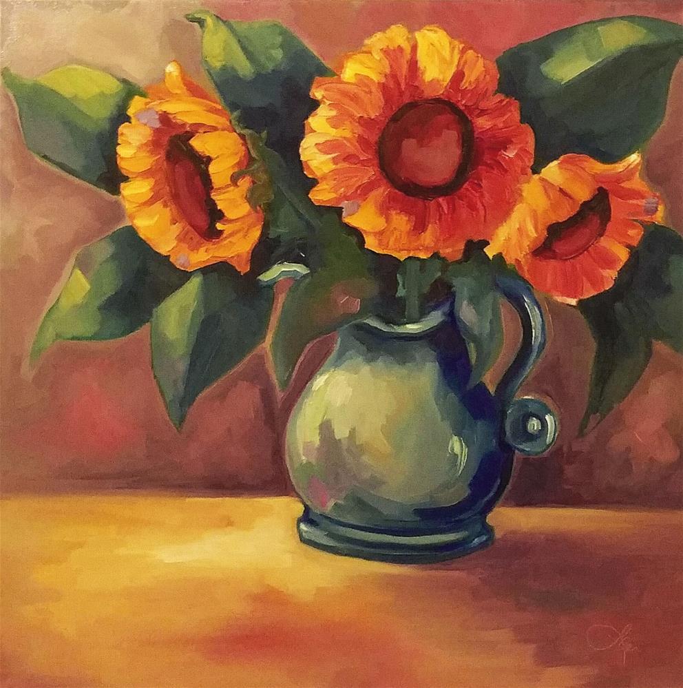 """""""Sunflower Medley II"""" original fine art by Leni Tarleton"""