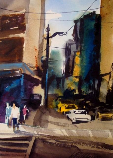 """""""Gritty City"""" original fine art by Kathy Los-Rathburn"""