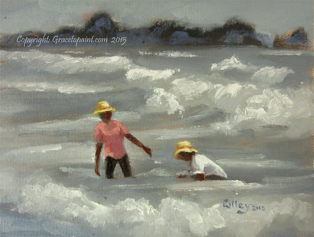 """""""Taking in the Waves"""" original fine art by Maresa Lilley"""