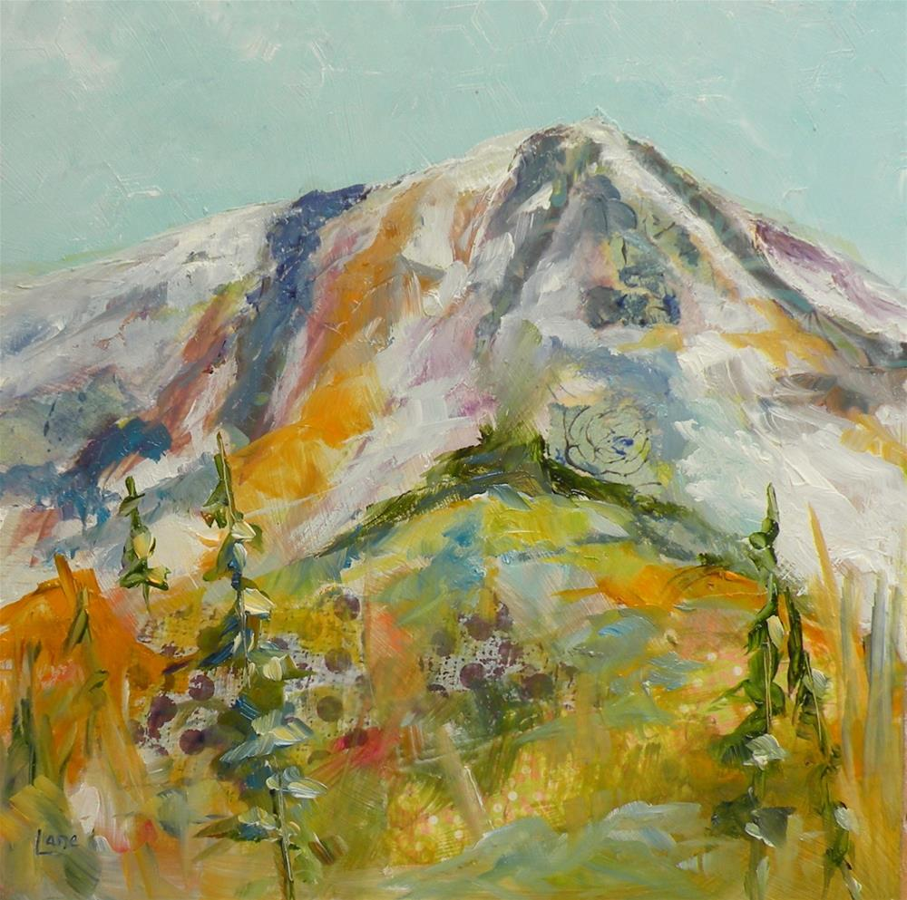 """MT. EVANS MINI ORIGINAL OIL WITH A LITTLE O PAPER COLORADO MOUNTAIN PEAK © SAUNDRA LANE GALLO"" original fine art by Saundra Lane Galloway"