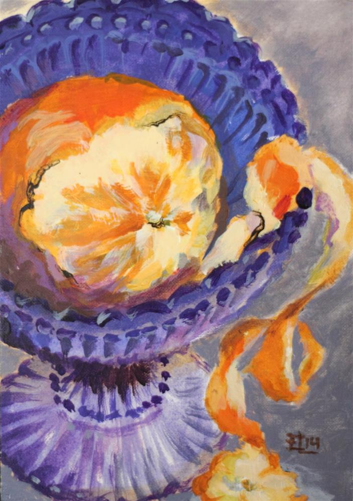 """Orange In a Blue Bowl"" original fine art by Emilia Leinonen"
