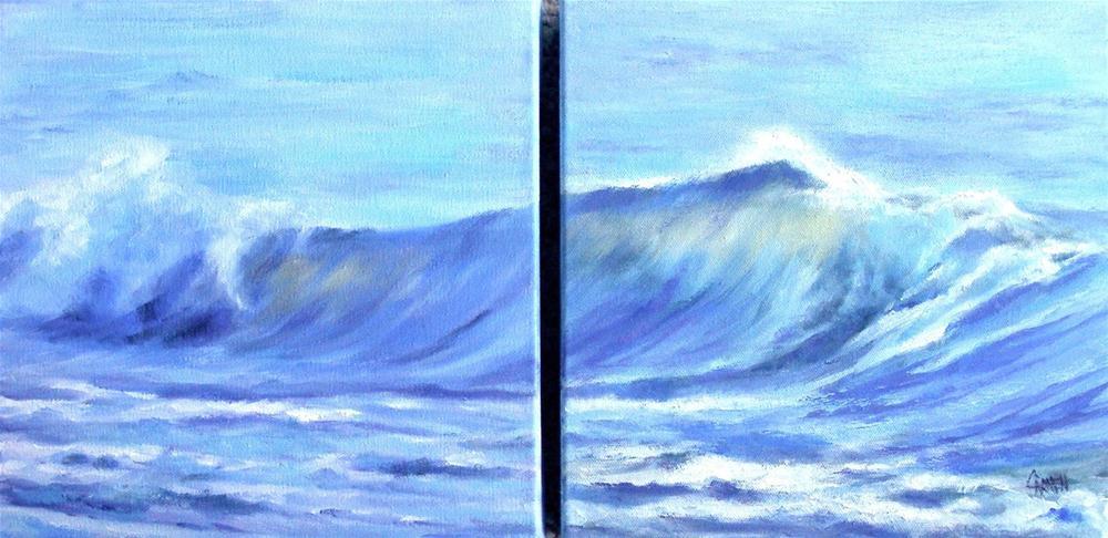"""""""Sealight Diptych, 20x10 Oil on Canvas"""" original fine art by Carmen Beecher"""