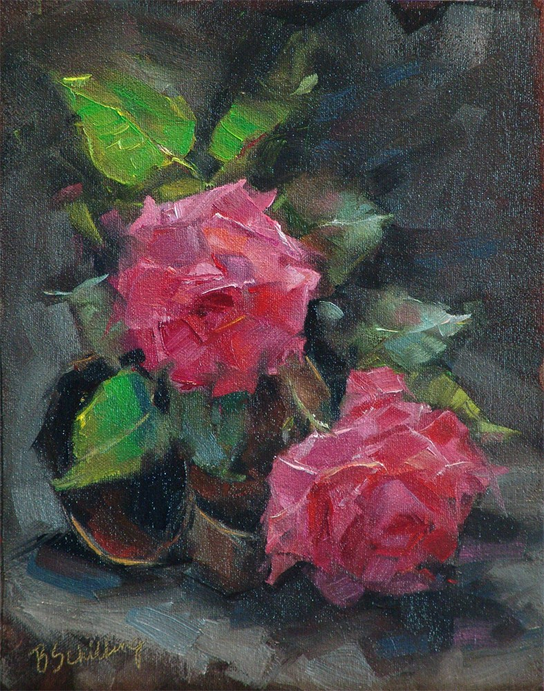 """""""Roses on a Tin Cup"""" original fine art by Barbara Schilling"""