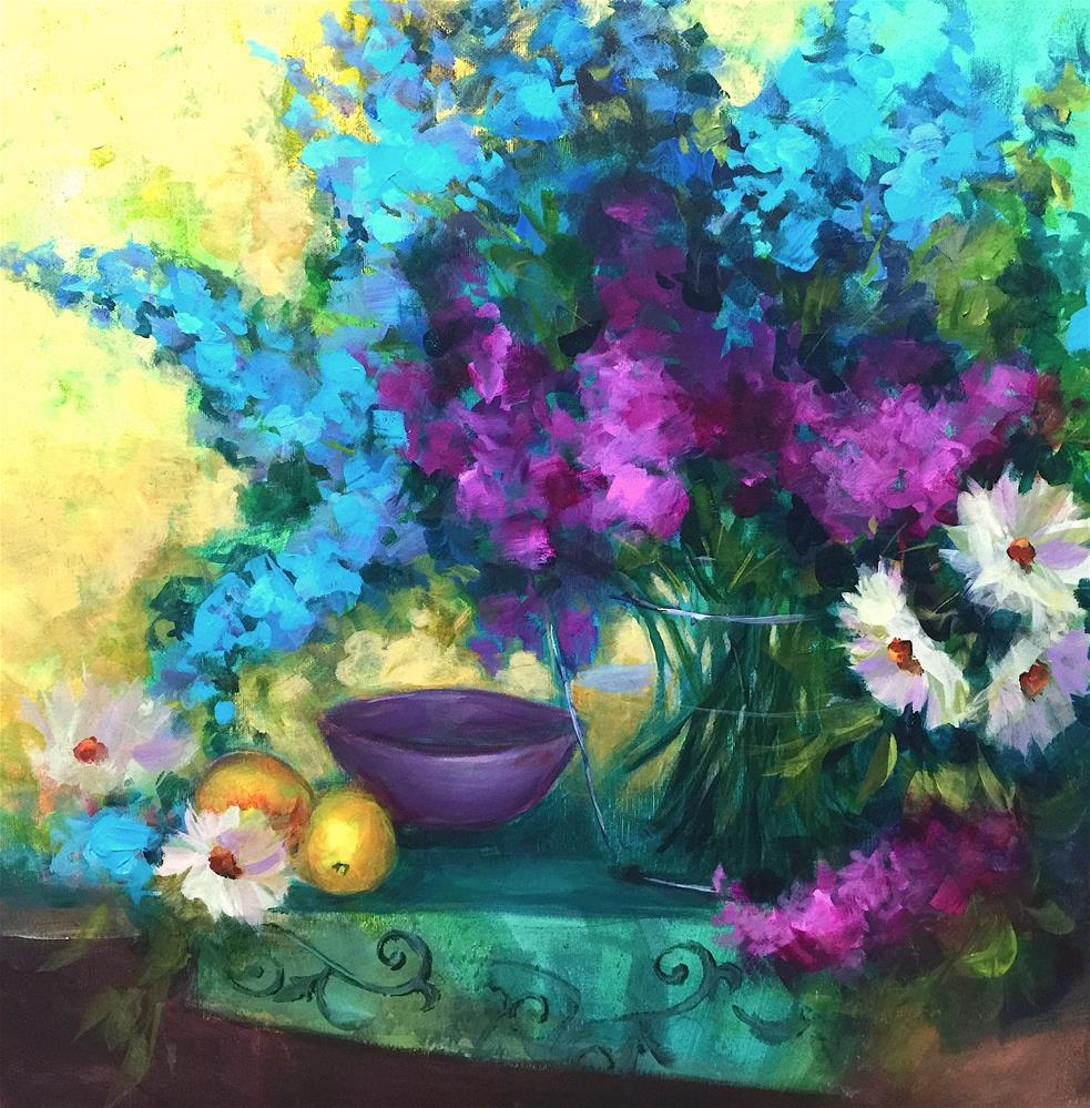 """Sapphire Delphiniums and Daisies and My Annual Sale Has Begun - Nancy Medina Art Videos and Classes"" original fine art by Nancy Medina"