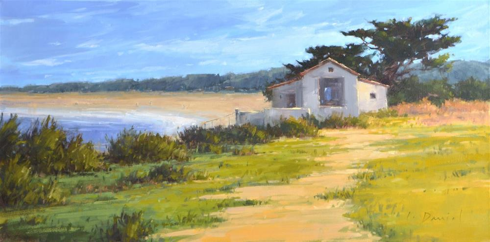 """""""Beach Cove Overlook - and reworking a painting"""" original fine art by Laurel Daniel"""