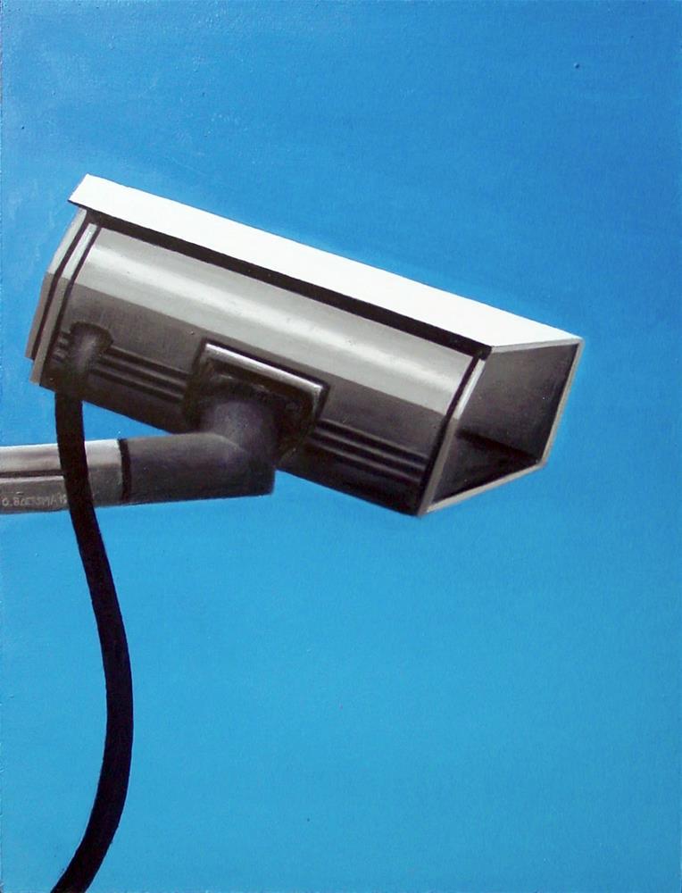 """Security Camera 25- Still Life Painting Of CCTV Surveillance Camera"" original fine art by Gerard Boersma"