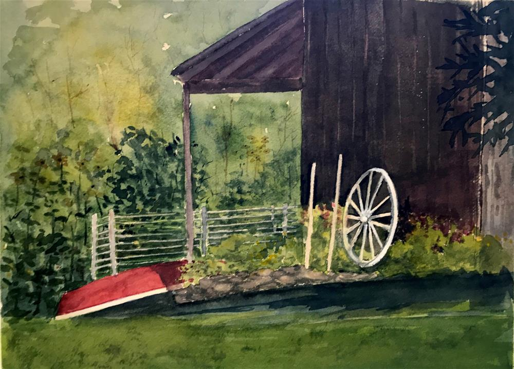 """red canoe and old wheel"" original fine art by Betty Argiros"