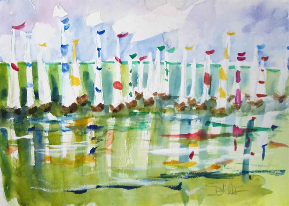 """Sailboats No.8"" original fine art by Delilah Smith"