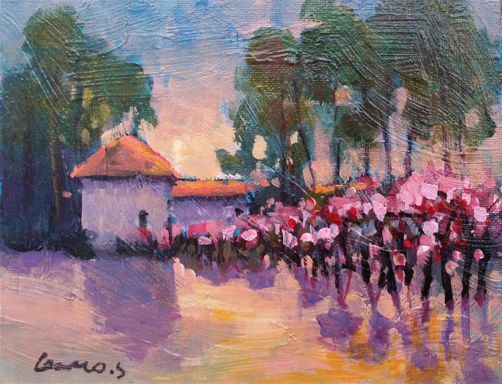 """apple trees in bloom"" original fine art by salvatore greco"
