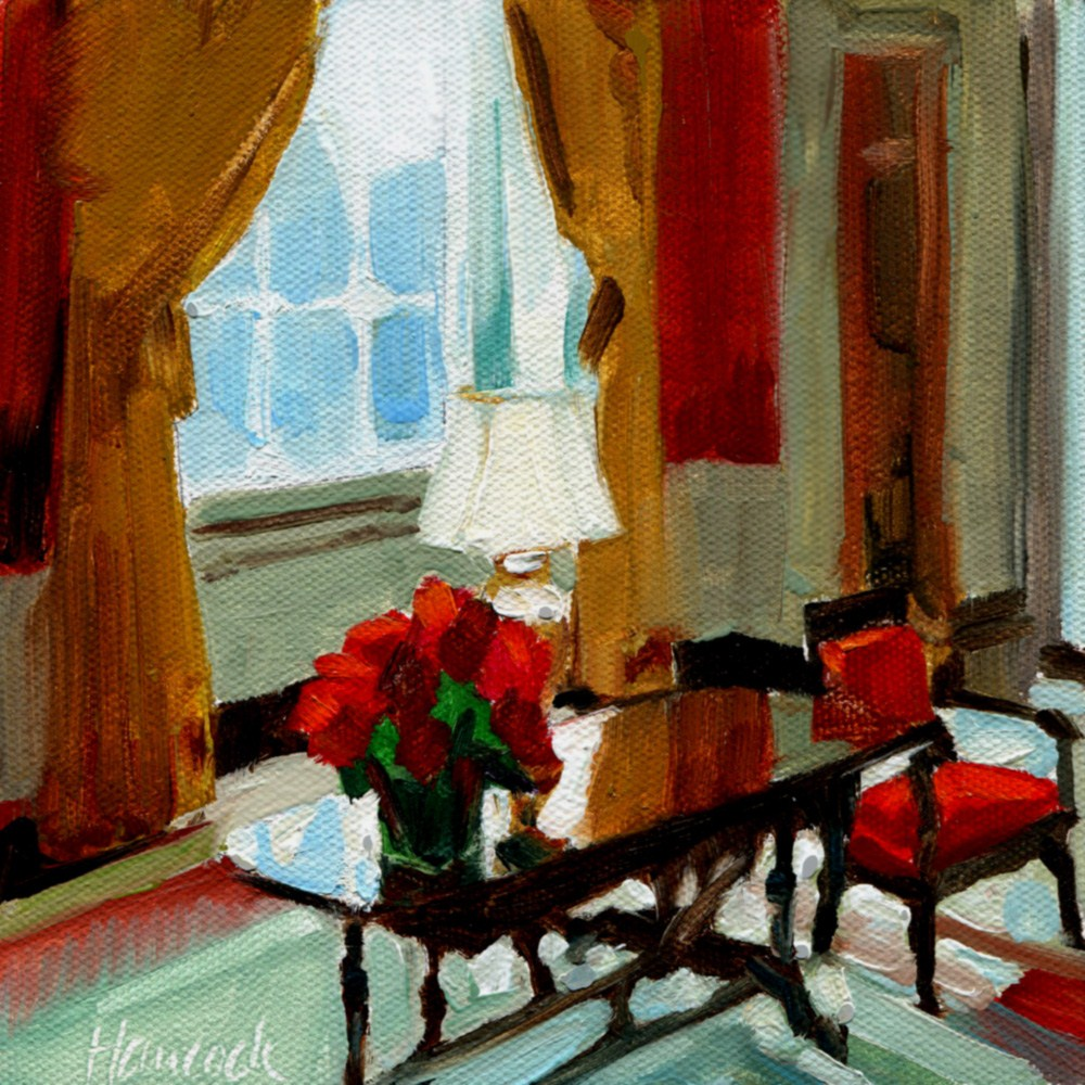 """Window in the Red Room"" original fine art by Gretchen Hancock"