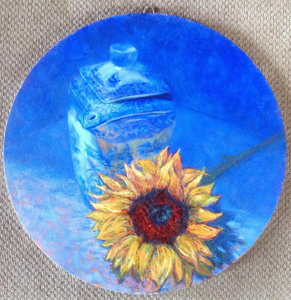 """Blue teapot with Sunflower"" original fine art by barbara yongue"