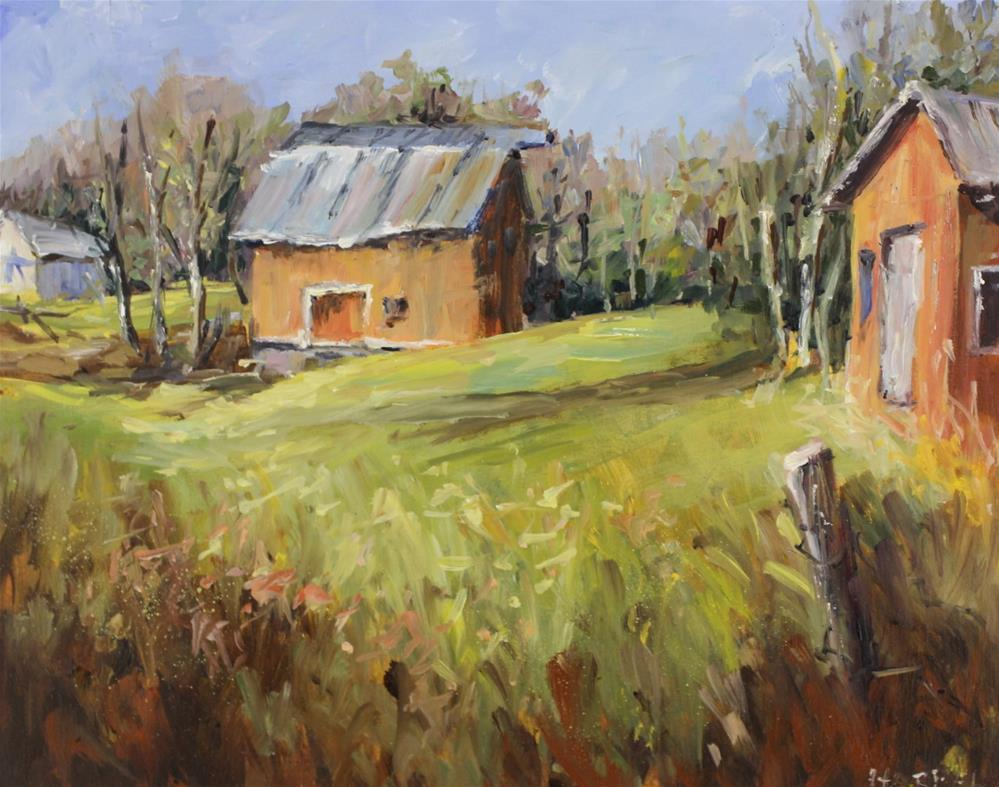 """Original oil landscape country barn painting"" original fine art by Alice Harpel"