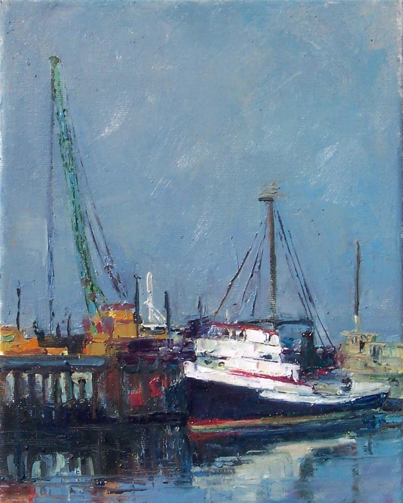 """Fishing Boat,seascape,oil on canvas,10x8,price$700"" original fine art by Joy Olney"