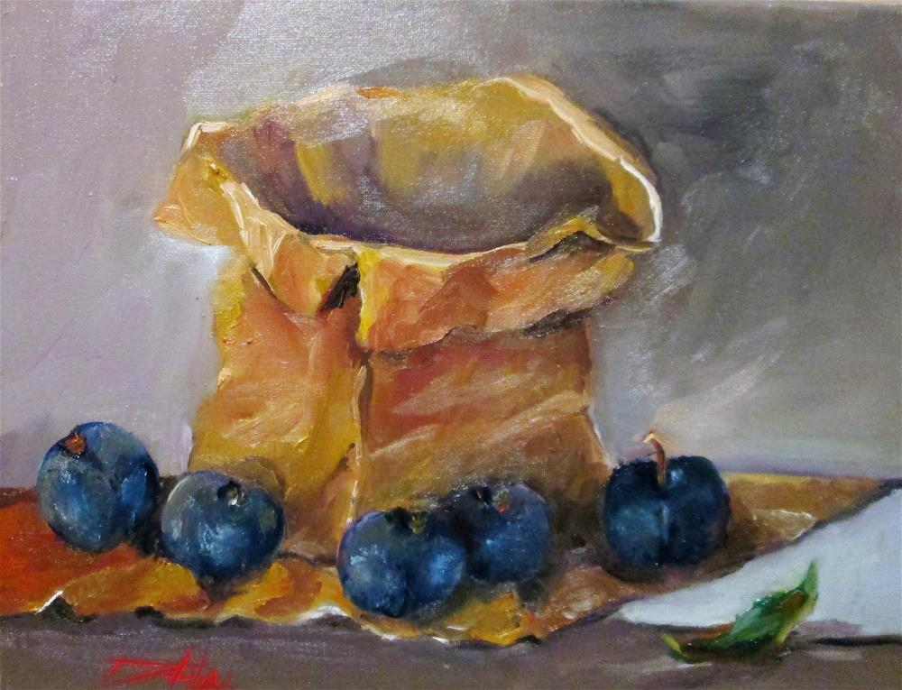 """""""Paper Bag and Plums"""" original fine art by Delilah Smith"""