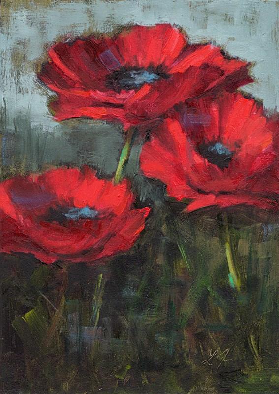 """Poppies in Red"" original fine art by Linda Jacobus"