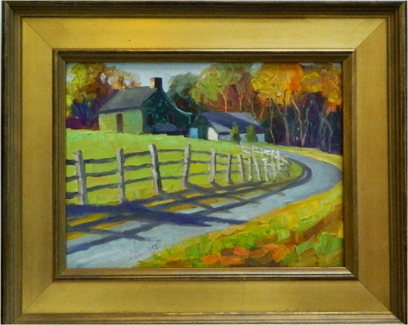 """""""October Morning, 12x16, oil on board, Chester County, Pennsylvania, Chadds Ford, Nielsen estate, f"""" original fine art by Maryanne Jacobsen"""