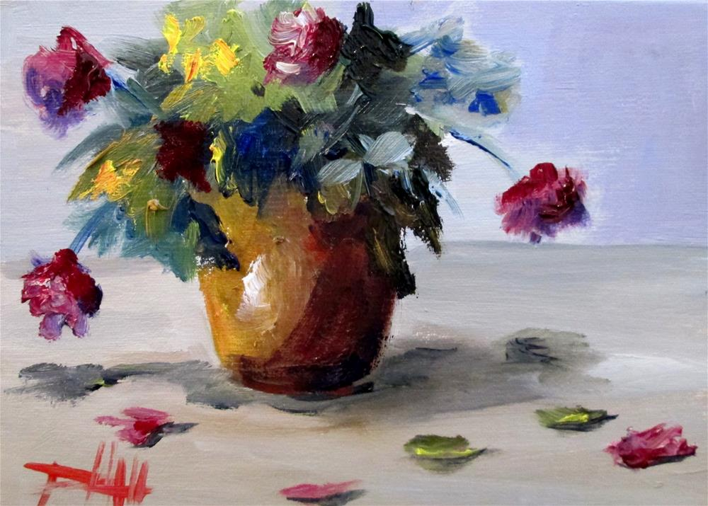 """""""Clay Vase Pink Flowers"""" original fine art by Delilah Smith"""